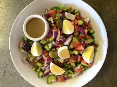 Israeli Salad with Homemade Tahini